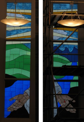 """These panels were built for a church in Grande Prairie. Each panel is approx. 4' x 6' and were built using a couple of different widths of flat lead to """"outline"""" the images. The consept and design was created by a member of the churches."""