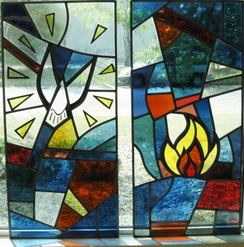 These panels were comissioned to compliment already existing stained glass panels.  The entrance way to St Matthew's Church was renovated and new window sets were added.