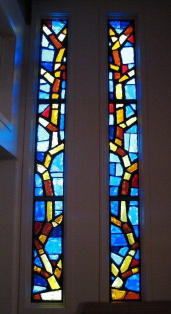 12 panels make up the four windows  in the minichapel.