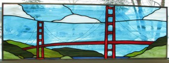 This is a transom panel depicting the golden gate bridge.