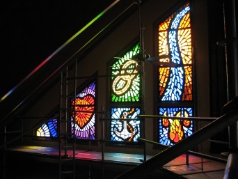 We completed 16 Dalle De Vere Windows for St Thomas D'aquin Parish. What makes things a little overwhelming is that those 16 windows breaks down into 32 panels, 310 square feet, and approx 3100 lbs of glass and resin.