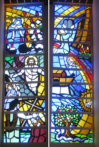 These 20 panels make up 2 towers on either side of the alter at Mary Help Of Christians Church. The 10 panels on the left represent the Old Testament , the 10 on the right represent the New Testament.  Although built in traditional leaded glass, we tried to represent the style of the dalle de verre windows already in the church.