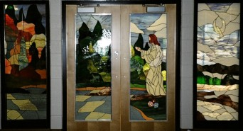 Holy Redeemer School in Edson commissioned these 4 panels for the entrance way of their chapel.  They represent the 4 seasons as well as some of the surrounding area.  They also have various symbols through-out.