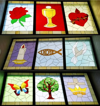 These 9 panels were built for the school's library, each panel is approximately 4' by 6'.