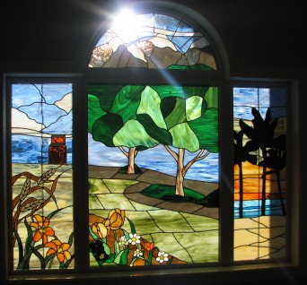 This set of 5 windows depicts the past present and future of the family. From their roots in Saskatchewan, to living in Kelowna, and presently Edmonton, to a vacation home in Mexico.  we also managed to incorperate a couple of hearts for good measure...