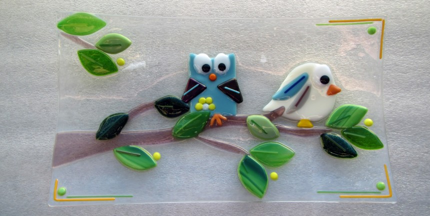 Birds on a Branch: Fused Glass Plate